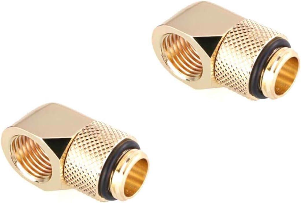 Bykski G1//4 Male to Female 45 Degree Rotary Elbow Fitting Gold 2 Pack