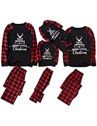 Matching Family Pajamas Sets Christmas PJ's with Letter Printed Long Sleeve Tee and Plaid Pants Loungewear Black