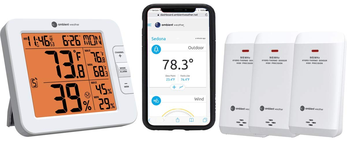 Ambient Weather WS-8482-X3 Wireless 7-Channel Internet Remote Monitoring  Weather Station with Three Indoor/Outdoor Temperature & Humidity Sensors,