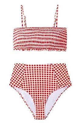 CUPSHE Women's Red Gingham Smocked High Waisted Bikini