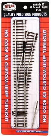 Atlas HO Scale Code 83 Custom-Line #4 Turnout Manual Right