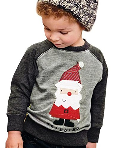 Kids Baby Boys Girls Christmas Santa Claus Print Sweatshirt Long Sleeve T-Shirt Size 2-3T (Gray) -