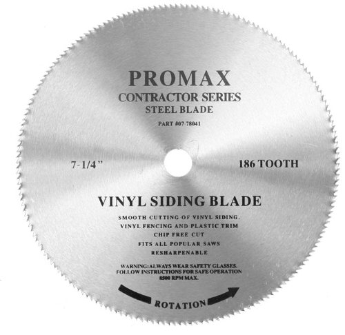 Promax PM-0778041-10 Steel Blade, 7-1/4-inch by 186 tooth, vinyl cutting, 10-Blade bulk (Portable Vinyl Fencing)