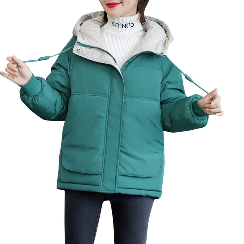 Fashionhe Women Warm Down Jacket Slim Thick Outwear Long Sleeve Top Casual Loose Hoodie Coat(Green. 3XL) by Fashionhe