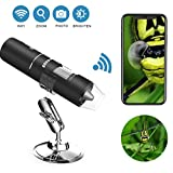 Wifi Digital Microscope, Goodan Wireless Microscope, Portable 50 to 1000X Black Updated Magnification Endoscope with Mini 8 Led Inspection Camera for Iphone IOS and Android Smartphone, Ipad