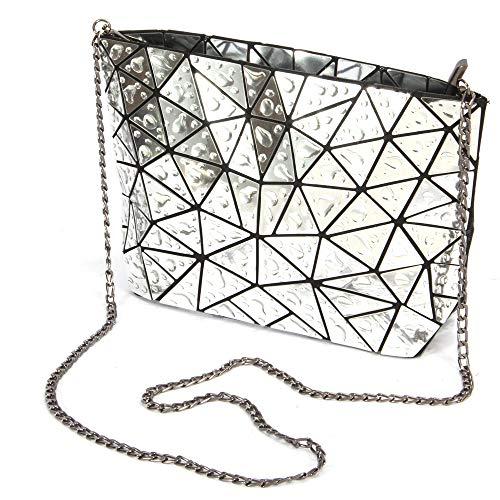 Silver purses waterdrop leather Geometric clutch 1 No HotOne women crossbody for purse purse PU chain 8xSSpUq6w
