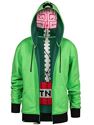 JINX Minecraft Men's Creeper Anatomy Premium Zip-Up Hoodie (Green, Large)]()