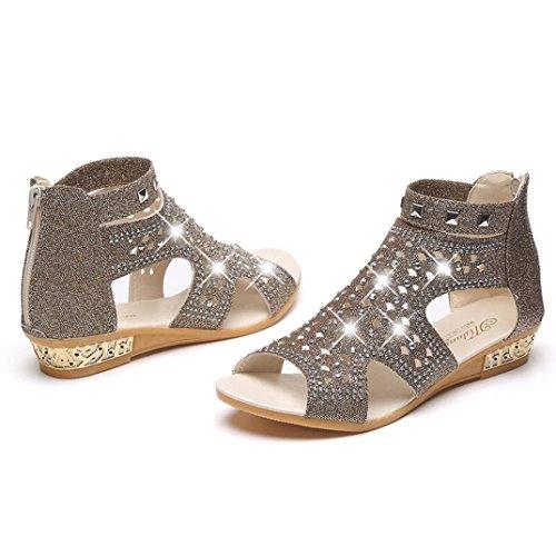 Chaussures Toe Bouche Strass Wedge Poisson Été Sandales Fashion Creuse Moonuy Flats Perlée Roma Mode Femmes Forme Printemps Chaussures Dames Femmes Or Tongs Plate Sandales Été TfwUURFq