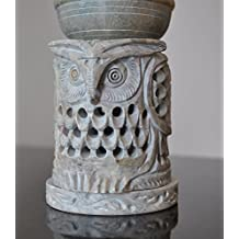 "Owl Shaped Oil Diffuser with Tea Light Holder Soapstone 4"" with Intricate Jaali Lattice Work by StarZebra"