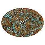 Patinated Copper Large Rustic Oval Wall Clock 20-inch – Silent Non Ticking Gift for Home/Office/Kitchen/Bedroom/Living Room Review