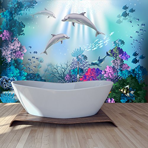 azutura Dolphin Wall Mural Under The Sea Photo Wallpaper Girls Bedroom Home Decor Available in 8 Sizes XXX-Large Digital ()