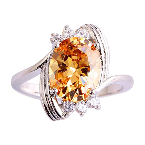 Psiroy 925 Sterling Silver Elegant Lady's Oval Cut Morganite Filled Ring - Edge Cathedral Setting