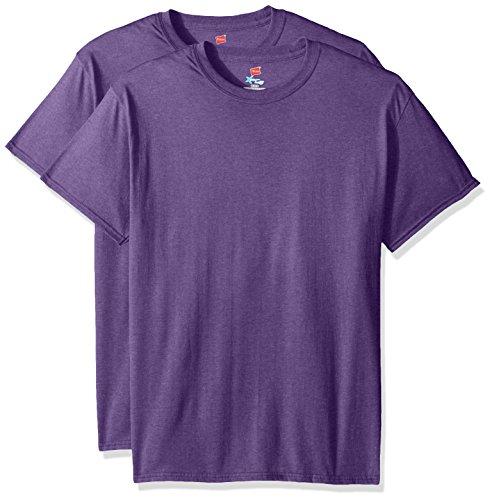 Short Sleeve Undergarment - Hanes Men's Short Sleeve X-Temp W/ FreshIQ T-Shirt 2-Pack, Grape Heather, 3X-Large