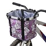 Bicycle Bike Detachable Cycle Front Canvas Basket Carrier Bag Pet Carrier Aluminum Alloy Frame Pet Carrier (Purple)