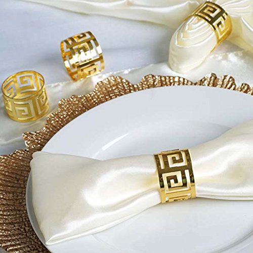 (Efavormart Alluring Gold Plated Aluminum Napkin Rings for Place Settings Wedding Receptions Dinner or Holiday Parties - 4/pk)