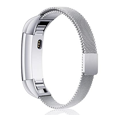 [Updated Solid Version] For Fitbit Alta and Alta HR Magnetic Bands, Konikit Band Milanese Loop Stainless Steel Metal Replacement Bracelet Strap, Wristbands Accessories for Women Men.