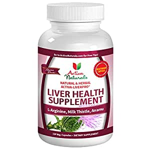 Activa Naturals Liver Health Supplement - 120 Vegetarian Capsules - Natural & Herbal Milk Thistle, L-Arginine & Anamu for Liver & Immune System Support
