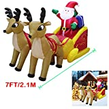 Yeahbeer Giant Inflatable Holiday Santa Reindeer Snowman with LED Light Portable Winter Xmas Blow Up Indoor and Outdoor Lawn Yard Scene Decorations (A- 7 Foot Santa on Sleigh)