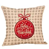 Happy Newyear Retro Christmas Pgojuni Throw Pillow Cases Cushion Cover Flax Pillow Cover 1pc 45cmx45cm (E)