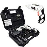 Rechargeable Screwdriver Kit, FlatLED Cordless Electric 4.8V Lithium-Ion LED Light Rechargeable Screwdriver with Twistable Handle and 45 Piece Accessory Set Including Case and Charging Cable