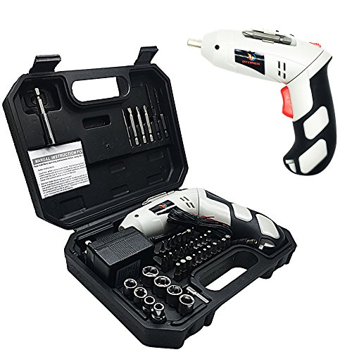High Torque Screwgun (Rechargeable Screwdriver Kit, FlatLED Cordless Electric 4.8V Lithium-Ion LED Light Rechargeable Screwdriver with Twistable Handle and 45 Piece Accessory Set Including Case and Charging Cable)