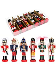 "Globalstore 6 PCS Christmas Nutcracker Set, Wooden Nutcracker Ornament Christmas Nutcracker Figures for Home Christmas Decor Gift, 5"""
