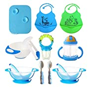 Baby Feeding Set, Complete & Best Value Gift, For Any Occasion, Loving Baby Includes: 2 Bibs  2 Bowls w/Lid & Spoon  Placemat  Mash Bowl w/Tool  Sippy Cup  Fruit Pacifier w/Rattle  Spoon & Fork (Blue)