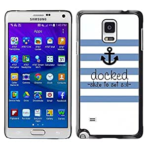 TopCaseStore / la caja del caucho duro de la cubierta de protección de la piel - Seaman Ships Anchor Quote - Samsung Galaxy Note 4 SM-N910