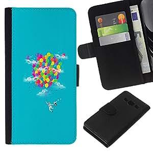 All Phone Most Case / Oferta Especial Cáscara Funda de cuero Monedero Cubierta de proteccion Caso / Wallet Case for Samsung Galaxy A3 // Rainbow Ballons