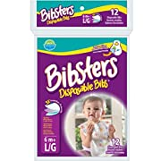 Bibsters by Neat Solutions Large Disposable Bibs with Patented Crumb-Catcher, Leak Proof Liner, and Reusable Fastener, Age 6+ Months, 48 Count