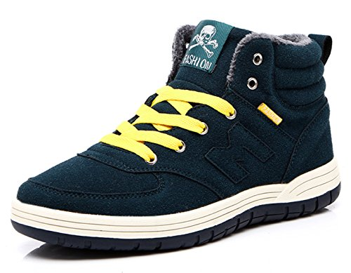 Snow Boots Sneaker For Men Boys Lace Up Fashion Warm Winter Faux Fur Lining Anti-Slip Ankle Outdoor Shoes Green VyxQhJ