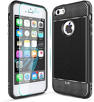 7f00f9ac0a7 LeYi Funda iPhone 5/5S/SE con HD Protector Pantalla Original Carcasa  Textura Fibra de Carbono Ultra Slim Silicona Soft Case TPU Gel Bumper  Shockproof ...