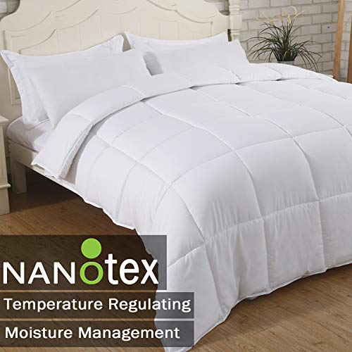 SNUZZZZ Premium Down Alternative Quilted Comforter with Nanotex Coolest Comfort Temperature Regulating, Reversible and All-Season Available, Plush Microfiber Fill, Duvet Insert or Stand-Alone (Twin)