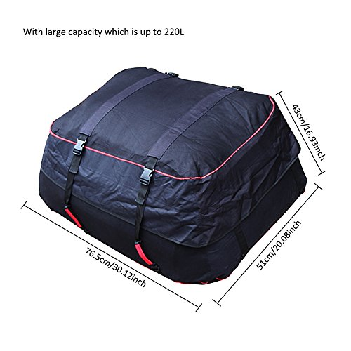 Luerme Outdoor Travel Camping Car 220L Waterproof Rainproof Dustproof Roof Top Cargo Carrier Oxford Cloth Roof Bag by Luerme (Image #8)