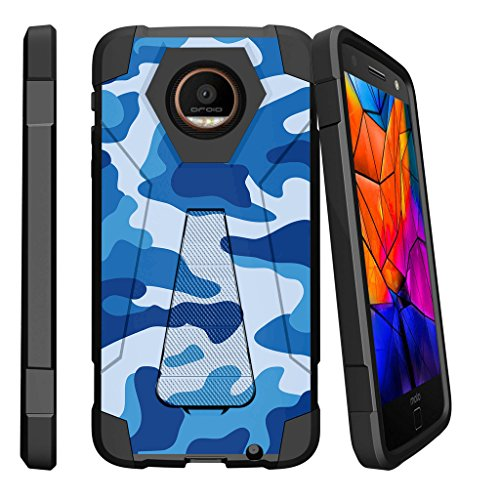 MINITURTLE Case Compatible w/ Motorola Moto Z Force Droid Hybrid Case, Z Force Droid [SHOCK FUSION] Slim Fitted Heavy Duty Stand Defender Case - Navy Camo