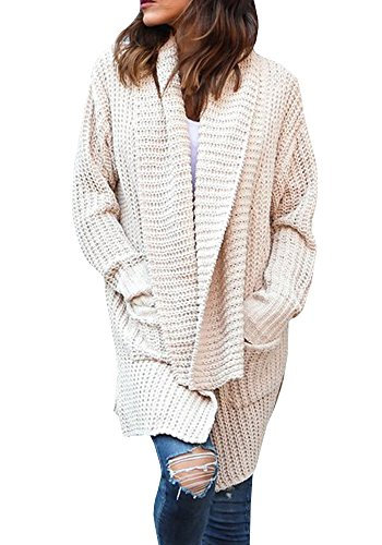 Gobought Womens Casual Long Sleeve Chunky Cable Lapel Draped Knit Sweater Cardigan Coat with Pockets