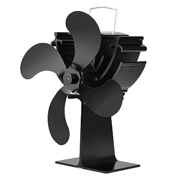 4 cuchillas Calentador de estufa alimentado por calor Quemador de leña Quemador de leña Ecofan Quiet Black Hogar Ventilador Eficiente Distribución de calor ...