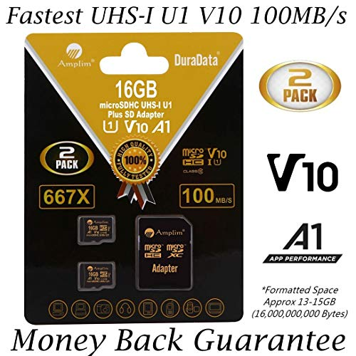 2 Pack 16GB 100MB/s V10 A1 U1 Micro SD SDHC Card Plus Adapter (Class 10 UHS-I MicroSD HC Extreme Pro Memory) Amplim Best Ultra High Speed 16 GB UHS-1 TF MicroSDHC Flash for Cell Phone, Fire, PC. 16G