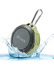 HUSAN IPX5 Waterproof Bluetooth Speaker,Wireless Shower Bluetooth Speaker With Suction Cup,Portable Outdoor Speaker With Built-in Mic,HD Audio,Enhanced Bass,Hands-free calling,TF Card Function (Green)