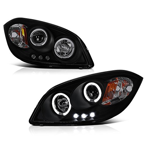 VIPMOTOZ LED Halo Ring Smoke Lens Black Projector Headlight Headlamp Assembly For 2005-2010 Chevy Cobalt & Pontiac G5, Driver & Passenger Side -