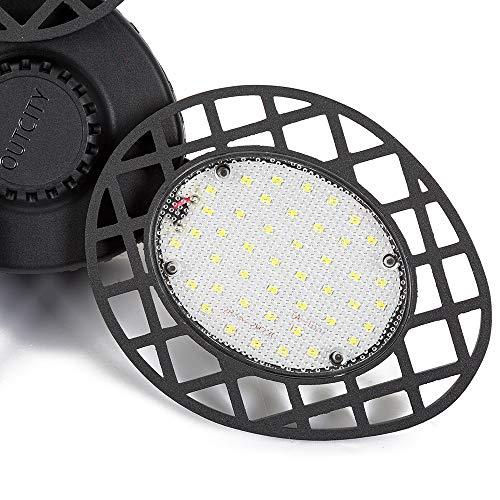 LED Garage Lights 60W, 6000K/E26 Three Leaf Garage Light Ceiling LED with 3 Adjustable Panels, Deformable Garage Ceiling Light Fixtures for Garage, Workshop, Warehouse -White Light (No Sensor)