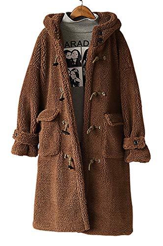 Faux Shearling Toggle Coat - Yimoon Women's Faux Shearling Loose Hooded Toggle Coat Warm Fleece Jacket (Coffee)