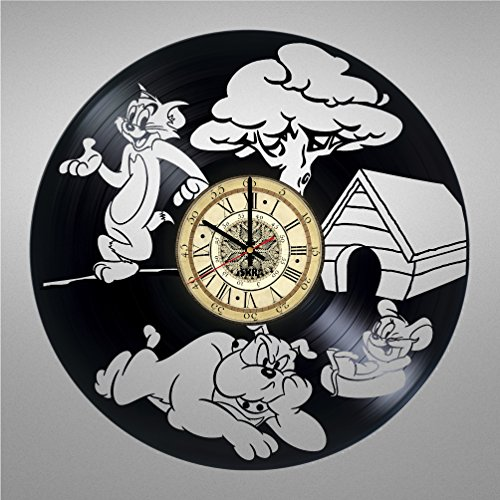 Tom Ideas Costume Jerry And (Vinyl Record Wall Clock for Funny Cartoon Fans - Get unique living room wall decor - Gift ideas for friends, teens, children, men and women, girls and boys - Cat)