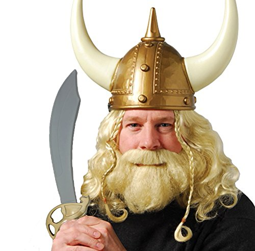 Norwegian GOLD Viking Helmet With Sword and Wig And Beard Set -