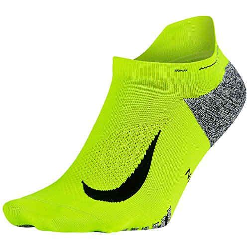 Nike Nikegrip Elite Lightweight No Show Tab Running Socks, Volt/Black, (Men's 6-7.5, Women's 7.5-9)