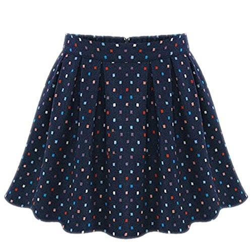 FINEJO Women's Christmas Basic Solid Mini Slim School Uniform Pleated Skirt XL
