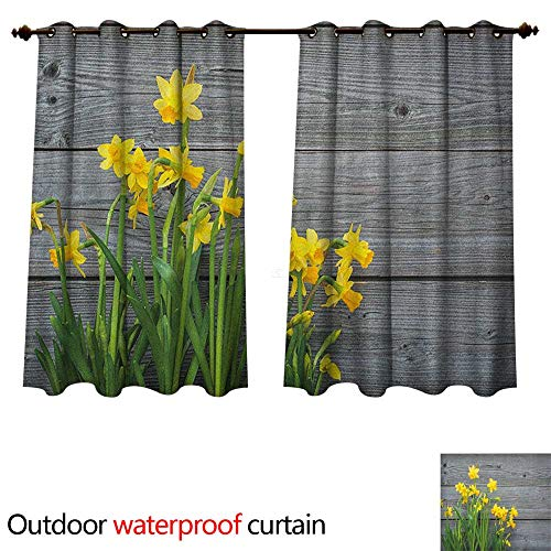 Anshesix Yellow Flower Outdoor Curtains for Patio Sheer Bouquet of Daffodils on Wood Planks Gardening Rustic Country Life Theme W72 x L63(183cm x 160cm)