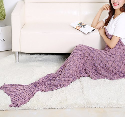 MZPRIDE Knitted Mermaid Blanket Mermaid Best Beach Blanket Pink