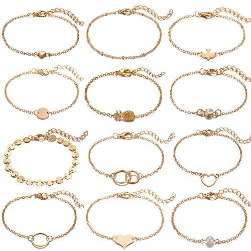 Starain 12 Pack Handmade Dainty Bracelets for Girls Women Charm Gold Silver Thin Chain Heart Shape Bracelet Set]()