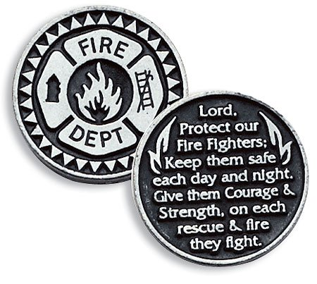 Firefighter Fire Dept Pewter Pocket Good Luck Love Token Coin